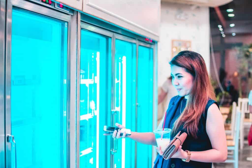 Woman entering freezer